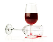 Delicate glass of wine. Empty and filled. Royalty Free Stock Photo