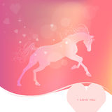 Delicate glowing vector illustration of a galloping horse. gentle pink yellow background. I love you. Delicate glowing vector illustration of a galloping horse Royalty Free Stock Image