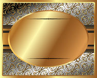 Delicate gold frame with oval plate Royalty Free Stock Photo