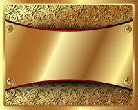 Delicate gold frame with pattern and in the center Stock Image