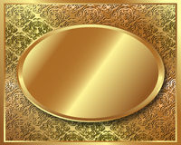 Delicate gold frame with pattern Royalty Free Stock Images
