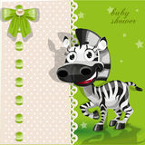 Delicate green baby shower card with zebra Stock Photo