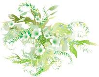 Delicate green flowers vector illustration