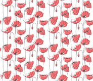 Hand Drawn Floral Vector Pattern, White Background, Red Poppies. stock illustration