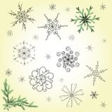 Delicate hand-drawn snowflakes set. Set of various hand-drawn snowflakes and firtree branches Stock Images