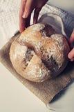 Delicate hands holding artisan bread. Delicate hands holding a round artisan bread Stock Photos