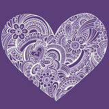 Delicate Henna Paisley Heart Vector. Delicate Henna Mehndi Paisley Pattern Heart Vector Illustration Background Royalty Free Stock Image
