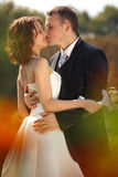 Delicate kiss - newlyweds during a walk in the park. A Stock Photography