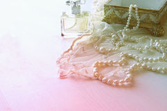 Delicate lace fabric, perfume Royalty Free Stock Photography