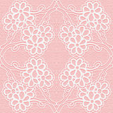 Delicate lace pattern on a pink background. Seamless floral ornament. Royalty Free Stock Images