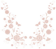 Delicate light pink beige flower embroidery. Field herb butterfly fashion textile print. Decorative ornate neutral patch. Necklace vector illustration art Stock Photos