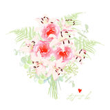 Delicate lilies french styled bouquet Royalty Free Stock Images