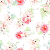 Delicate lilies and roses seamless vector pattern Stock Photography