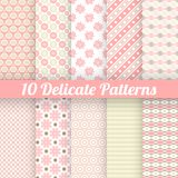 10 Delicate lovely vector seamless patterns. (tiling). Endless texture can be used for printing onto fabric and paper or invitation. Stripe and flower shapes royalty free illustration