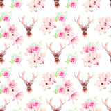 Delicate magnolia flowers and deer seamless vector print Royalty Free Stock Photography