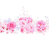 Delicate magnolia and peonies seamless vector horizontal banner. Delicate pink magnolia and peonies seamless vector horizontal banner Royalty Free Stock Images