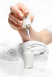 Delicate manicure, manicure hybrid Stock Photo