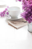 Delicate morning tea table setting Stock Photography