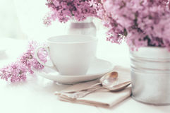Delicate morning tea table setting Stock Images