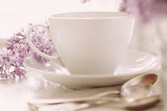 Delicate morning tea table setting Royalty Free Stock Images