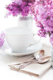 Delicate morning tea table setting Stock Photos