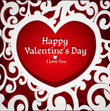 Delicate openwork appliqués Valentine card Royalty Free Stock Image