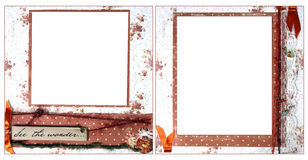Delicate Orange Scrapbook Frame Template Stock Image