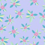 A delicate ornamental pattern with berries on a violet background. Vector seamless pattern Stock Photos