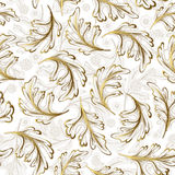 Delicate ornate hand drawing white gold fantasy leaves seamless pattern. Royalty Free Stock Images