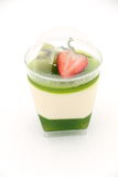 Delicate panacotta  decorated with fresh fruit. Stock Photo