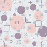 Delicate pastel seamless pattern with squares, circles and crosses. Rounded corners, comfortable background.