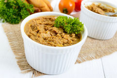 Delicate pate from chicken liver in ceramic bowls Royalty Free Stock Images