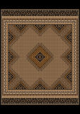 Delicate pattern of the carpet in brown and yellow shades Stock Images