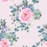 Delicate pattern of dog roses flowers. Roses, herbs and succulent. Design for cloth, wallpaper, gift wrapping