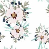 Summer holidays garden Delicate pattern of peony flowers. Roses, peony, anemones and eucalyptus, succulent. vector illustration