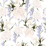 Delicate pattern white roses flowers and violet flowers. Design for cloth, wallpaper, gift wrapping. stock illustration