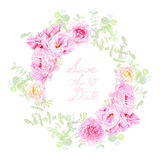 Delicate peonies wreath round vector frame. Save the Date wedding template in shabby chic style Royalty Free Stock Images