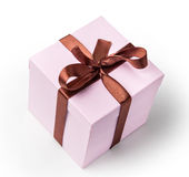 Delicate pink box for a gift, light, with brown ribbon Royalty Free Stock Image