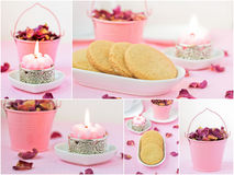 Delicate pink collage with shortbread. Royalty Free Stock Photography