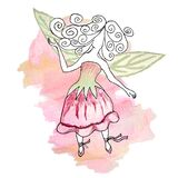 Delicate pink girly watercolor illustration of a fairy in a bellflower dress and green wings-leaves on the background of a