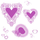 Delicate pink hearts. Valentine'S Day. Strokes Stock Image