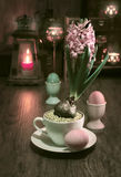 Delicate pink hyacinth on vintage kitchen Stock Image