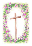 Delicate pink lily and cross. Pencil drawing Royalty Free Stock Photo