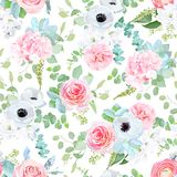 Fantasy wedding mix of flowers and plants seamless print royalty free illustration