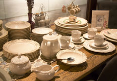 Delicate porcelain tableware. For domestic dinner Stock Images