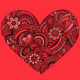 Delicate Red Henna Paisley Heart Vector Stock Photos