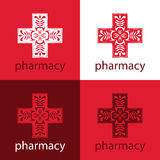 Red medicine logo. Delicate red Medical and Pharmaceutical logo Stock Image