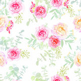 Delicate roses seamless vector pattern in shabby chic style Stock Photos