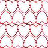 Delicate seamless background pattern with intersected red contour hearts Royalty Free Stock Images