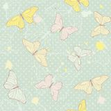 Delicate seamless pattern with butterflies Royalty Free Stock Image